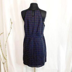 Anthropology Blue, Black & Multicolor Dot Dress L
